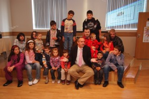 Surgeon Prof Youri Anastassov, with children from the cleft clinic in Plovdiv, Bulgaria
